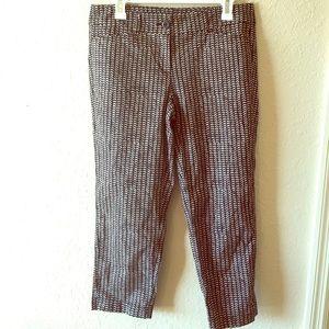 Ann Taylor Loft Crop Black Patterned Pants Size 4